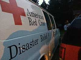 A representative from the Amercian Red Cross arrived to help the fire victims.