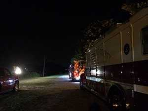 Fire engines line Brawley Street in Spartanburg where a train derailed early Friday morning.