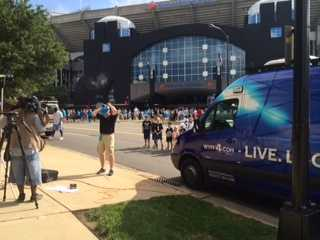 John Cessarich getting ready to go live from Panthers Fan Fest.