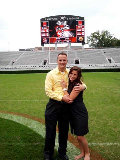 Chris proposed to Lauren in the University of Georgia's Sanford Stadium.