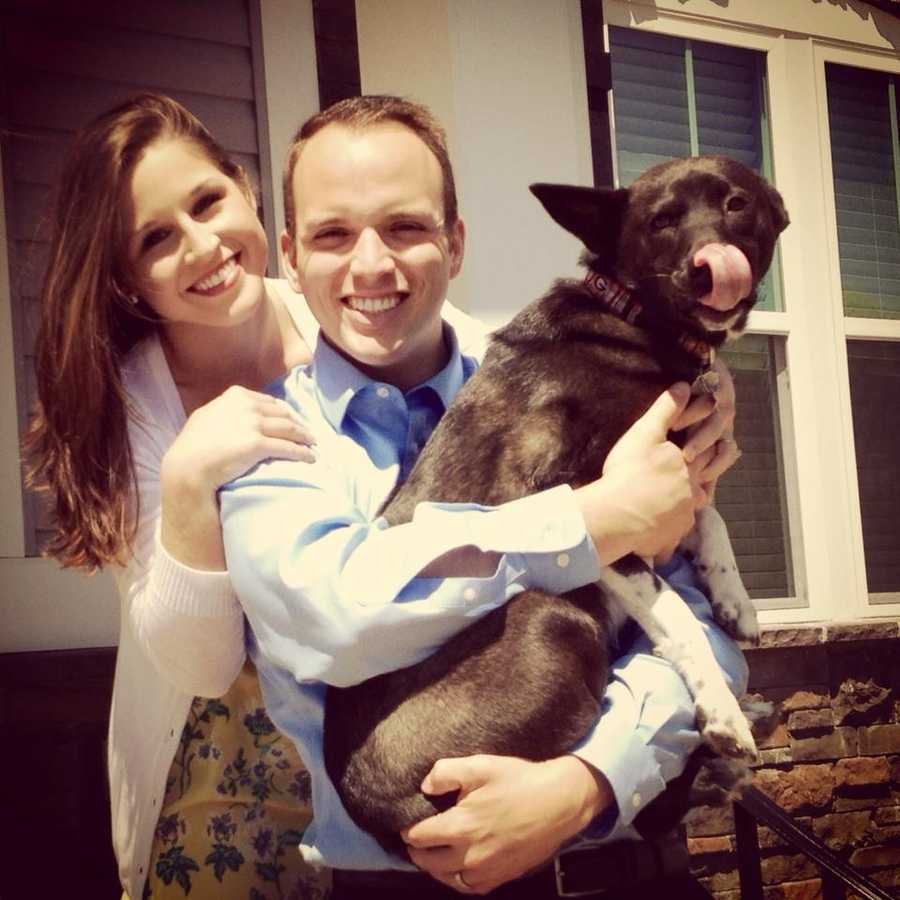 """They adopted their dog """"Tenny"""" on their way to Greenville from Nashville, where Chris previously worked."""