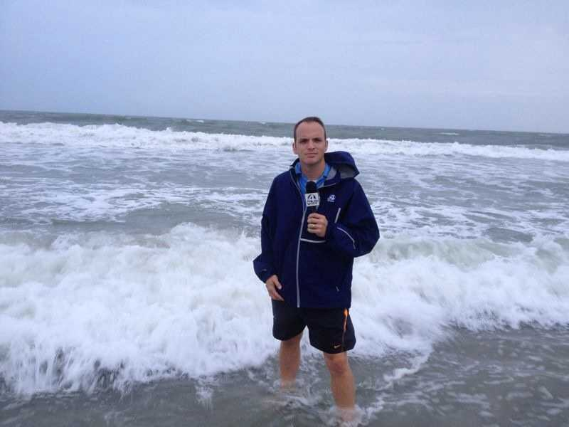 Chris also reports on weather related stories 3 days a week. This is Chris covering a hurricane along the SC coast.