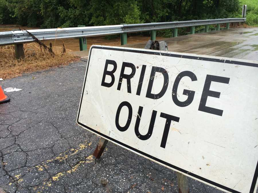 The bridge at Irwin Avenue and Carolina Dr. in Spartanburg Co. was closed Friday morning due to flooding.