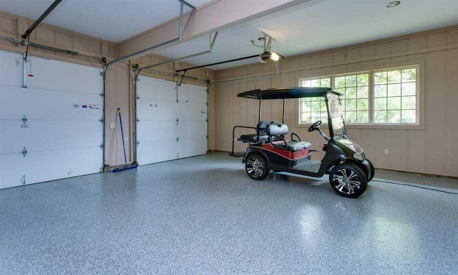The home has a three-car garage.