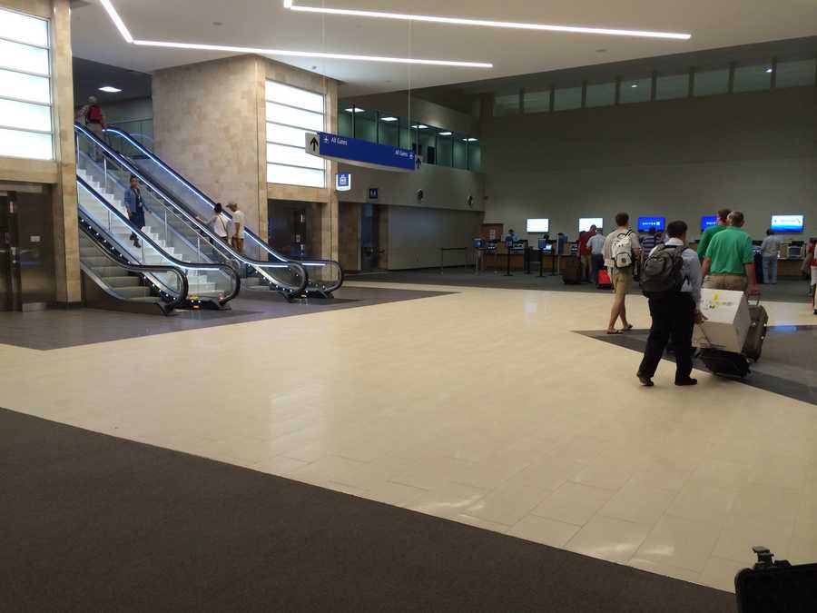 The construction wall that separates the Delta Airlines ticketing counter from the new north wing was removed early Wednesday.
