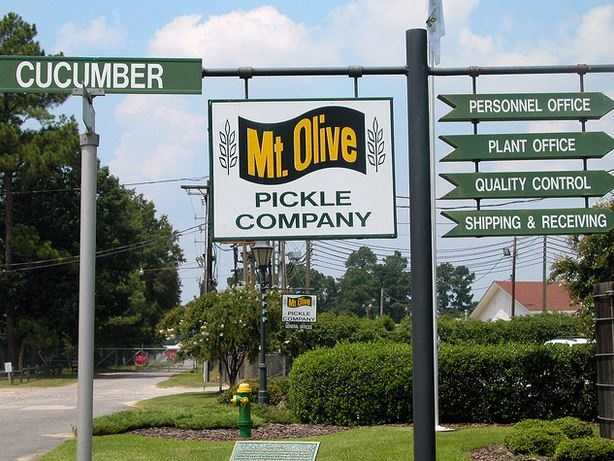Mt. Olives Pickle Company, Inc. located in Mt. Olive was originally founded for the purpose of brining cucumbers to be sold to other pickling firms. The initial plan didn't work out, but a new plan was prepared in 1926 and the company began processing and packing pickles itself.