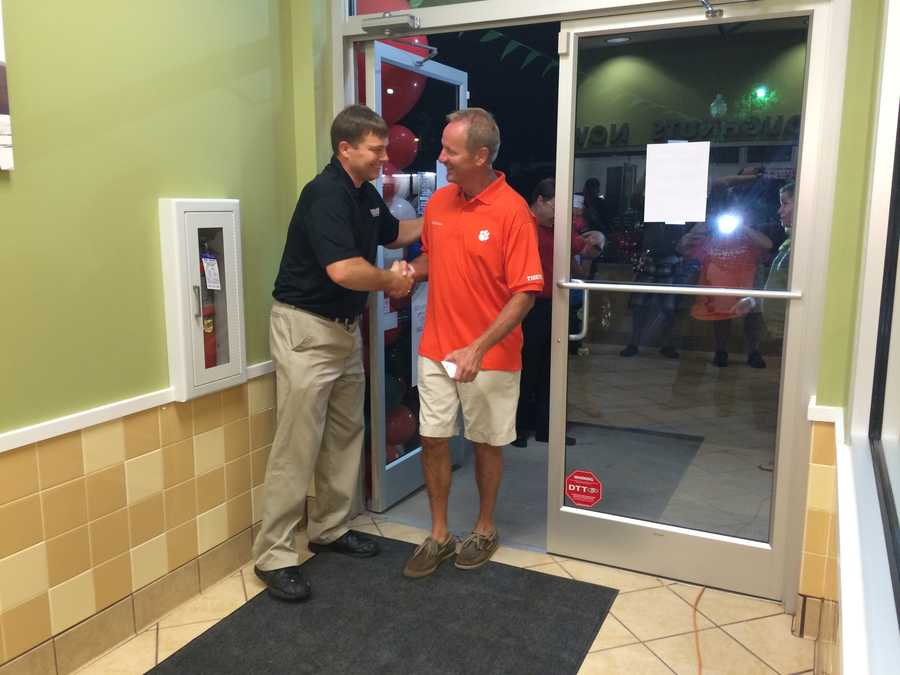 Jerry Bowen, the first customer to enter Anderson's new Krispy Kreme.