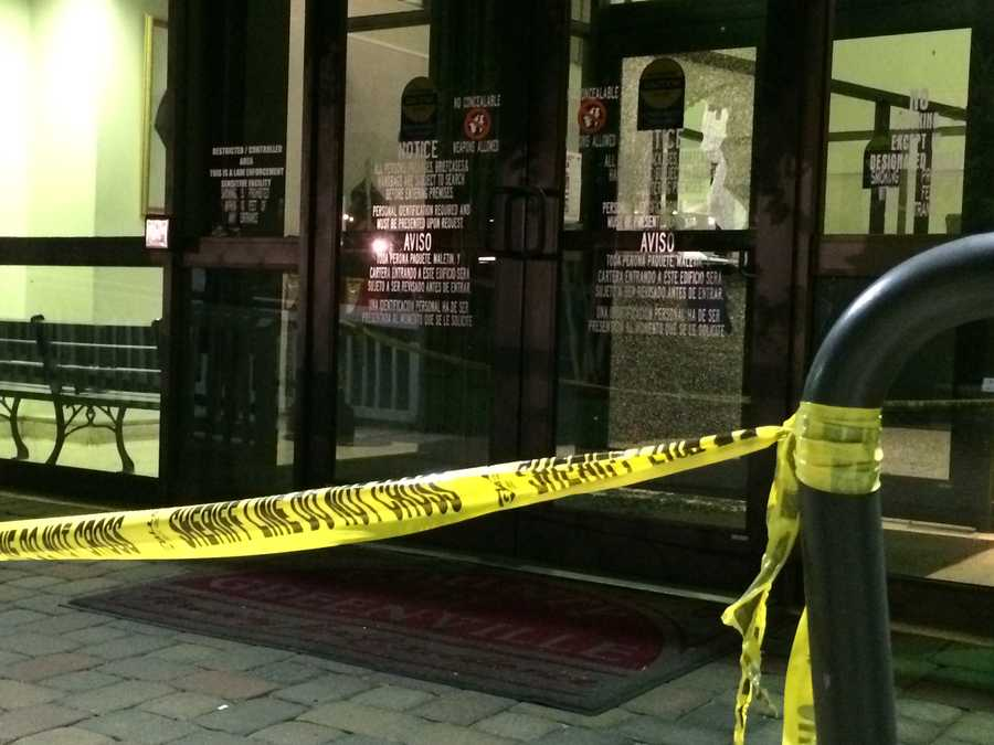 The last stretch of crime scene tape remains near the LEC front doors.