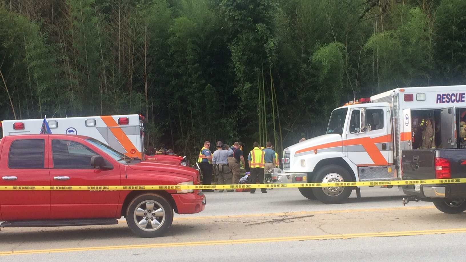 Authorities say the vehicle went off the road, through a bamboo forest and down an embankment.