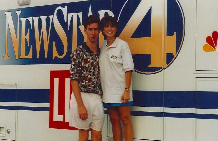 """Stephanie came to WYFF in 1994 and was delighted to get back to a place where she could say """"y'all"""" on-air.  Here she is covering her first hurricane at Myrtle Beach with photographer Rob Yingling."""