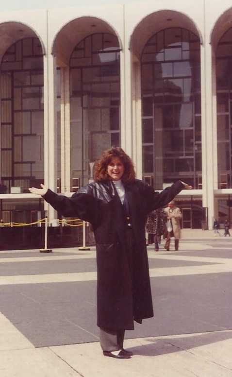 """Stephanie attended Baylor University where she majored in communications and was named, """"Best D.J. in Waco."""" After graduation, she moved to New York City to work in public relations. This is a """"big-hair"""" moment at Lincoln Center."""