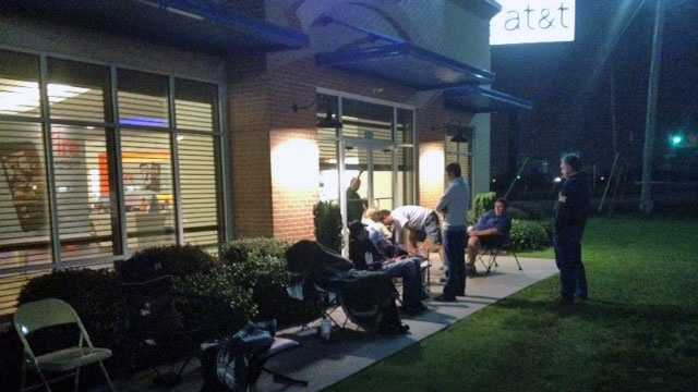 About 15 people camped overnight at the AT&T store on Woodruff Road.