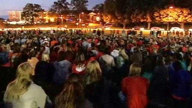 A vigil was held Tuesday night for Clemson student Tucker Hipps.