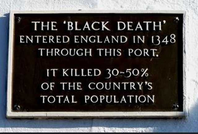 1337-1354: The Black Death or The Plague, is now known to have been bubonic plague.  It killed as many as 200 million people when the world population was only 450 million. Spread by fleas on rats, it is estimated to have killed half the population of Europe.