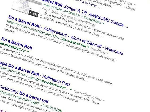 "Tell Google: ""Do a barrel roll"" and watch the text on the page literally roll over"