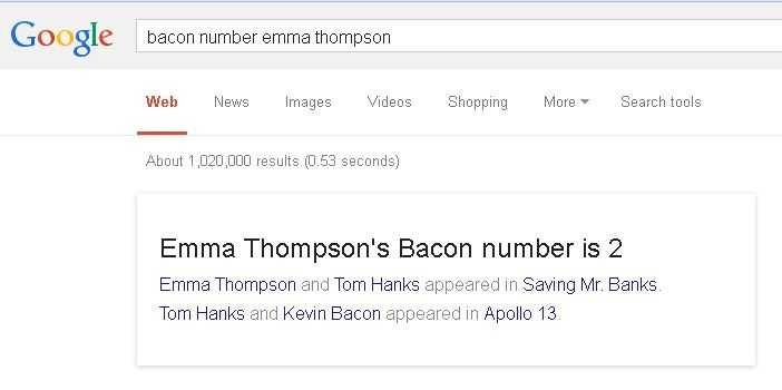 "To find out the degrees of separation from anyone famous and Kevin Bacon, go to Google search and type in ""Bacon number (whoever)""  For example, President Obama's Bacon number is 3.  The explanation for the number is included with the result."
