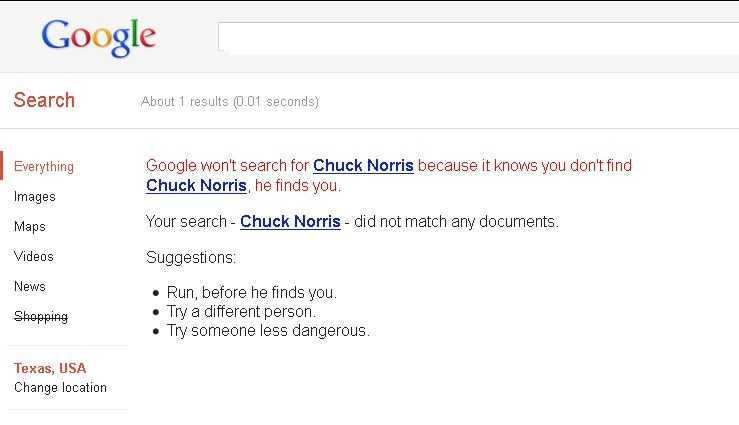 "And because Google's programmers like to show their humorous side now and then, type in ""find Chuck Norris"" and click on the first result, ""Chuck Norris - Google Search."" Pretty much guaranteed to make you chuckle."