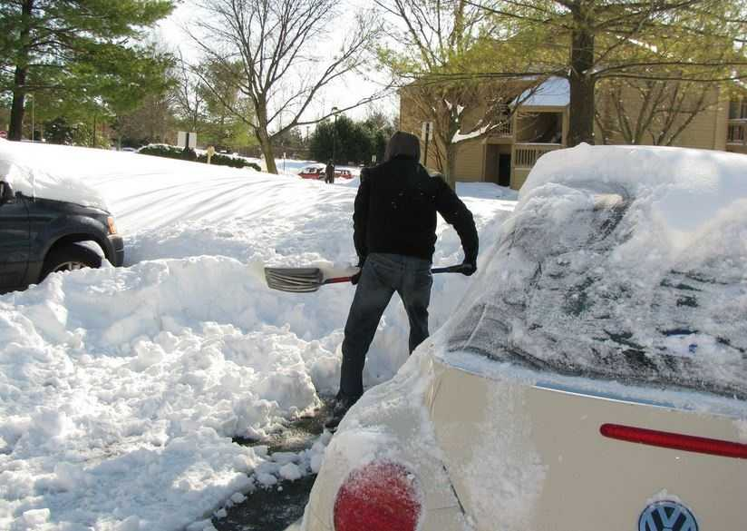 Shoveling is isometric exercise, which causes a heart rate and blood pressure increase.
