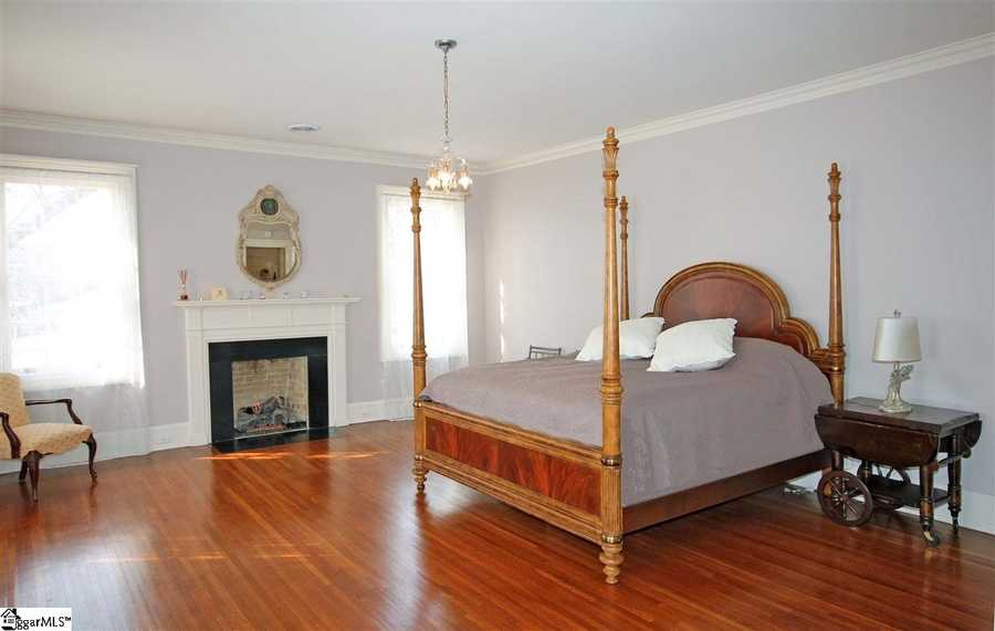 The master suite has a gas log fireplace.