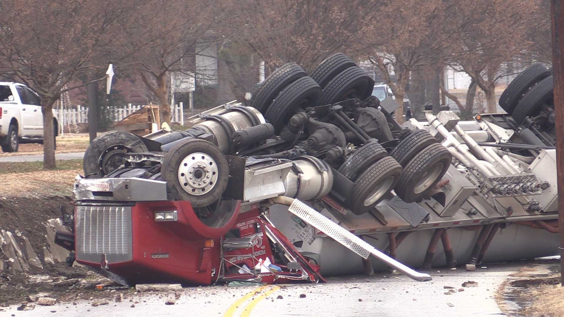 An overturned gas tanker and spill shuts down North Main Street in Belton.