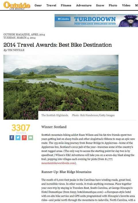 Outside Magazine- Best Bike Destination- The Blue Ridge Mountains came in as runner-up for 2014's Best Bike Destination with a suggested stay in Traveler's Rest while you explore the outdoors.