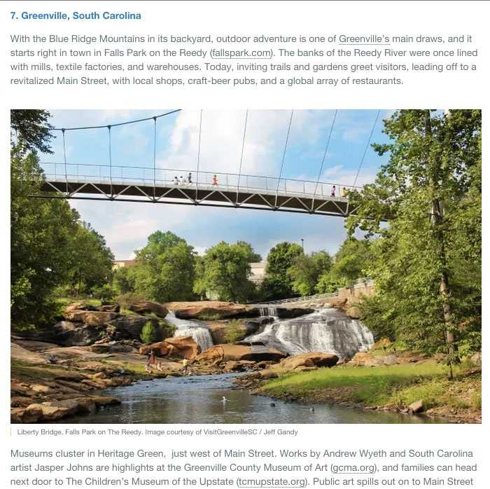 The Lonely Planet- Best in the US 2015- Perhaps the most looked-to resource in the entire travel industry, each year the destinations featured on this list include a mix of up-and-comers and classic favorites. Greenville takes the #7 spot.