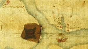 "John White's ""La Virginea Pars"" map with secret marking"