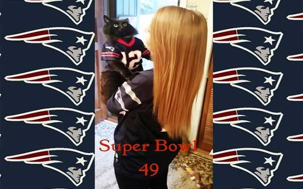 My daughter and her cat are ready for Super Bowl 49!