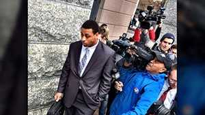Greg Hardy leaves court Monday.