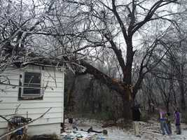 Bruce Crane, who lives on Prospect Street in Greenville, got a shock from the ice storm.