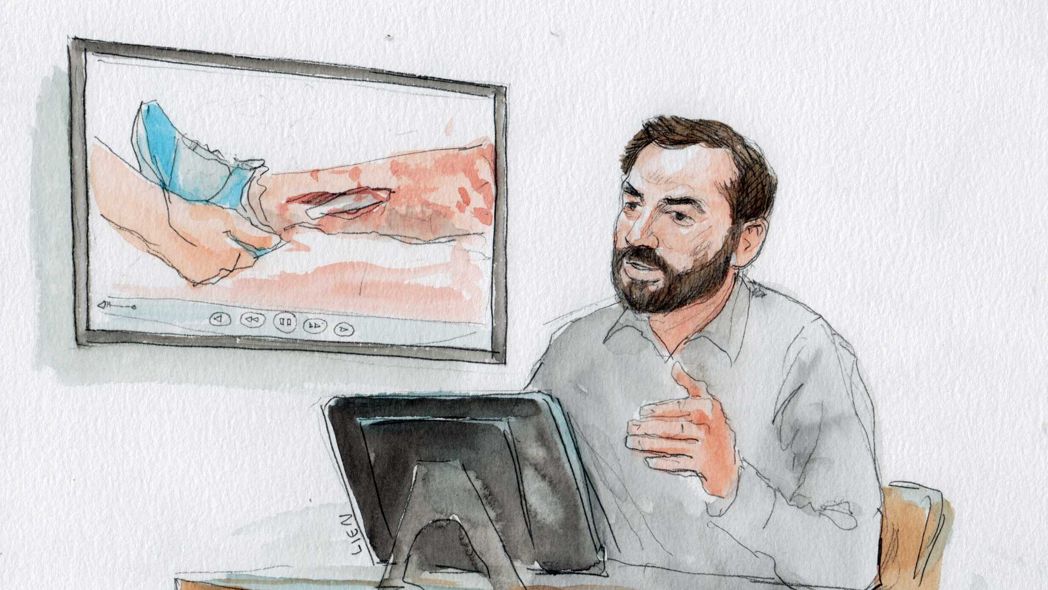 Colton Kilgore on the witness stand for the Boston Marathon Bombing Trial. (Art Lien/courtartist.com)