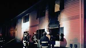 Fire broke out at the Edgewood Square Apartments on Cherry Street early Monday morning.