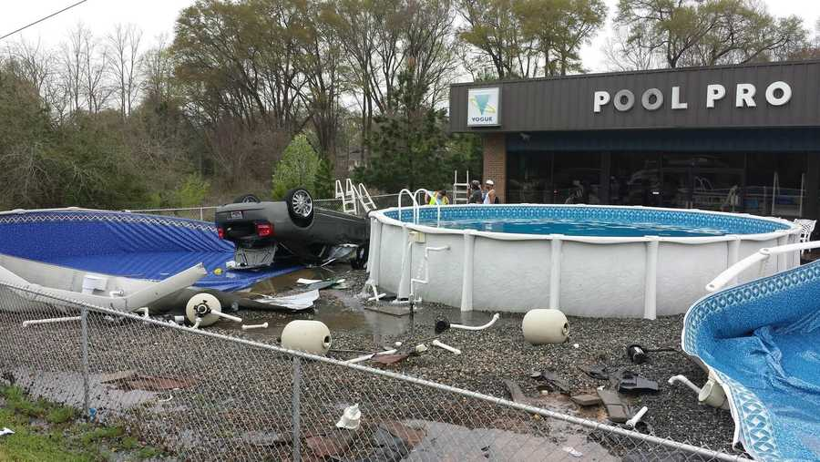 The owner of Pool Pro in Anderson County says a car slammed into several pools in front of her business Thursday.