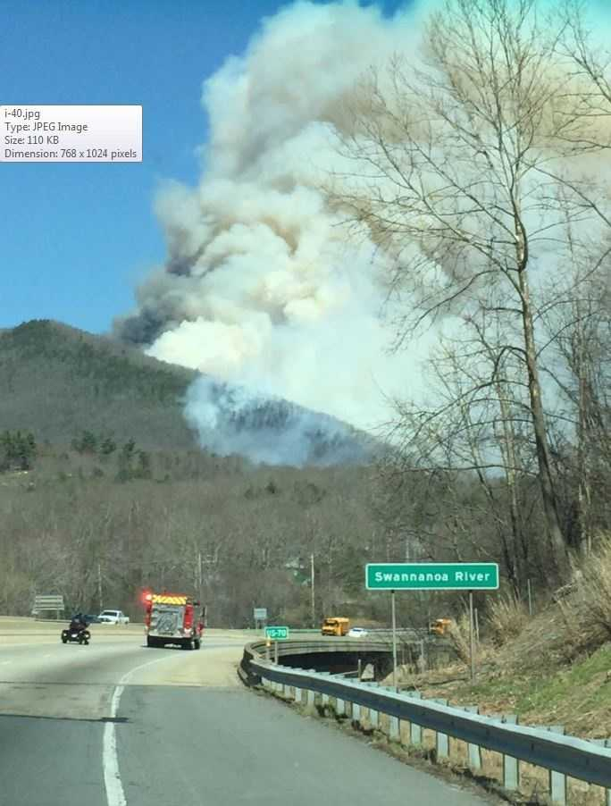 The fire broke out Tuesday afternoon, and smoke could be seen billowing above Interstate 40 near the 67 mile marker.