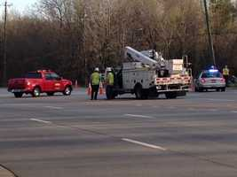 Part of White Horse Road was shutdown Wednesday morning due to hanging power lines after a single vehicle collision, according to South Carolina Highway Patrol.