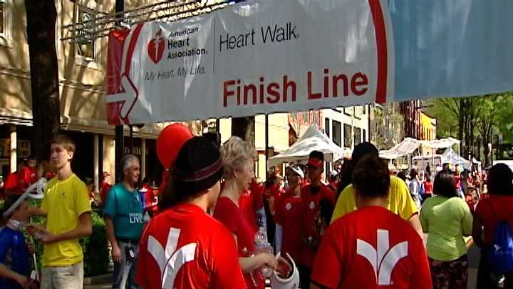 A huge crowd turned out for the annual Heart Walk in downtown Greenville.