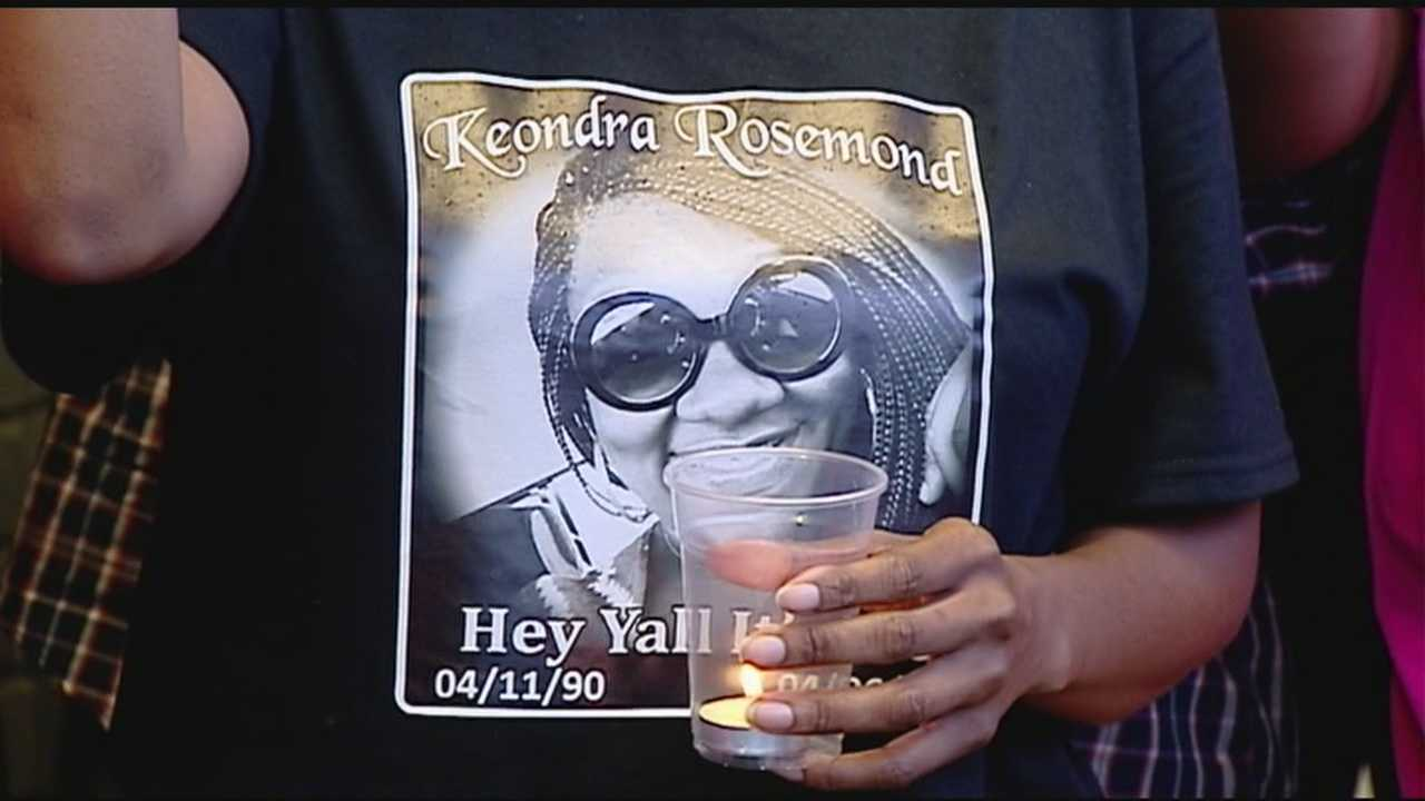 More than 150 friends and family members held a vigil for Keondra Rosemond in the same parking lot she died in a week earlier.