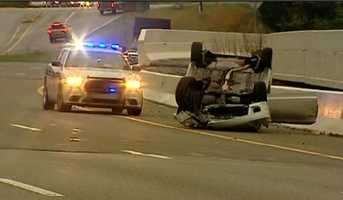 A car overturned on Interstate 385 Tuesday morning.