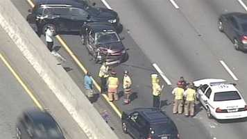 Two left lanes on Interstate 85 are blocked by an accident, according to the Highway Patrol.