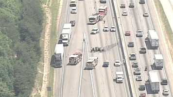 All lanes of Interstate 85 southbound near Pelham Road are shutdown due to a vehicle fire.