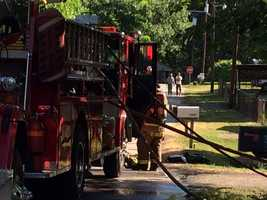 A woman was life-flighted from a house fire in Anderson County Thursday morning, according to a witness.