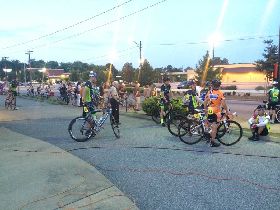 Cyclists started gathering at Spartanburg Memorial Auditorium as the sun came up.
