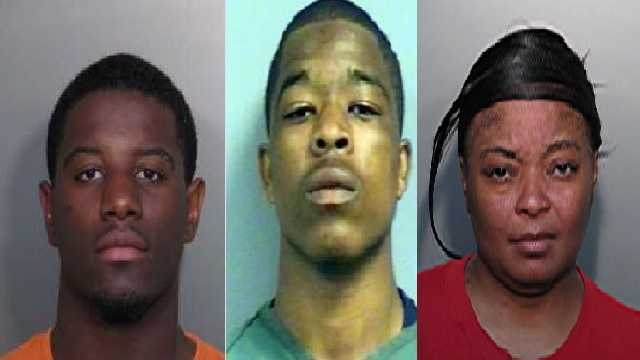 Malik Glymph (left) Marquez Austin (center) and Tenesha Smith (right)  Authorities are still searching for Deatrick Williams.