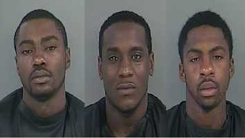 Anthony Bolds, (left) Anthony Brewer (center) Travius Mayer (right): charged with two counts of first degree burglary