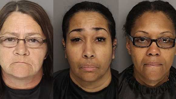 Tracy Mathis, Lisa Wells, Harriett Williams: Accused of stealing from retirement community clients