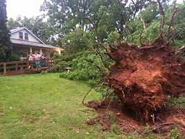 The National Weather Service is surveying some damage in Western North Carolina after Monday night's storms.
