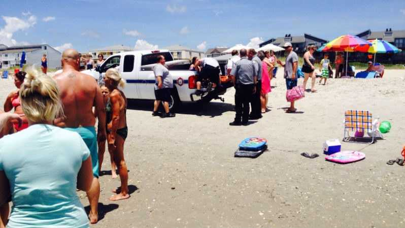 A 13-year-old was involved in a possible shark attack that happened just before 12:45 p.m. Thursday near Monroe Street in Ocean Isle Beach. (Source: Daniel Mason) (WECT)
