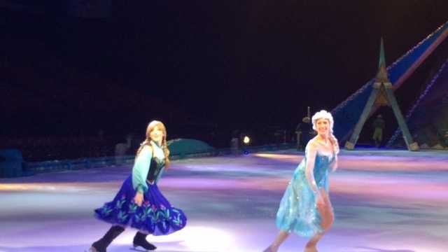 Ana and Elsa are just a couple of the 'Frozen' favorites to share the ice.
