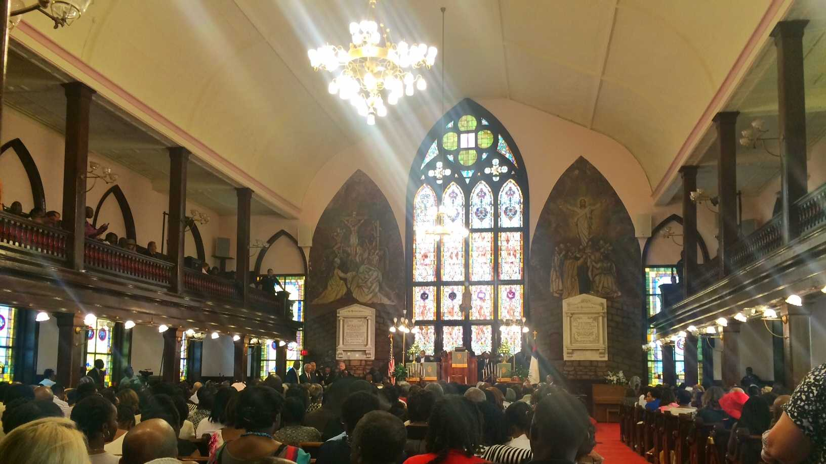 A church service started at 9 a.m. at Emanuel AME.