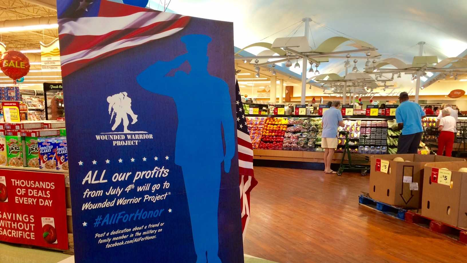 Bi-Lo to donate all profits from July 4th to Wounded Warrior Project.